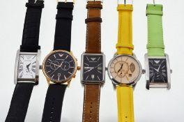 Armani - Five Armani wristwatches, one automatic & four quartz, two non working,