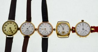 Five early 20th century gold-plated mechanical watches to include Waltham, Elgin, Roamer etc,