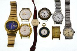 A boxed quantity of wristwatches to include 9ct mechanical 21 jewelleld Accurist, Seiko,