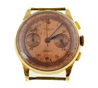 A gents chronograph Suisse Antimagnetic mechanical watch head, approx 40mm, stamped '18k 0.