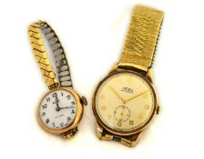 Two working mechanical 9ct H/M wristwatches to include a ladies 'Rolo' (measures approx 25mm) & a