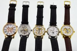 ROTARY - Five automatic Rotary skeleton wristwatches,