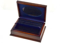 A modern decorated silver H/M topped wooden jewellery box, measures approx 8inch x 6.