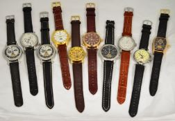 A boxed quantity of 10 working automatic wristwatches.