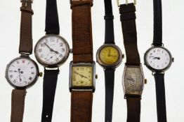 Six early 20th century H/M silver wristwatches to include J.