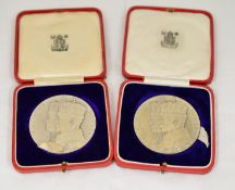 ROYAL MINT - Two 1935 silver jubilee bronze medallions 58mm,