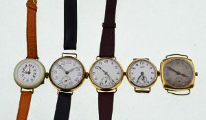 Five gold-plated mechanical watches, with some wear to plate on cases, overall good condition,