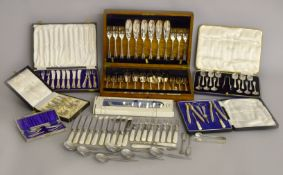 A quantity of cased silver plated cutlery to include nutcracker set,
