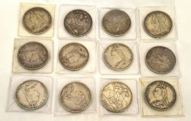 Twelve Victorian silver crowns ranging from 1888-1900