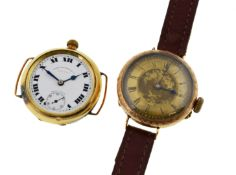 Two converted fob watches, stamped 14k,