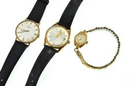 Three wristwatches, mechanical gents 9ct H/M Marvin with personal engraving on a leather strap,