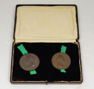 Two George IV 1821 coronation bronze medallions (by B.