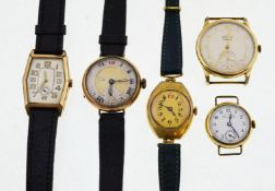 Five gold-plated early 20th century mechanical watches,