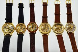 Six modern skeleton gold-plated mechanical wristwatches,