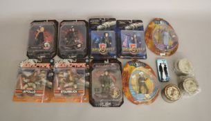 A mixed lot of figures which includes; Battlestar Galactica, Babylon 5 and Farscape,