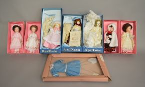 EX-SHOP STOCK: Seven House of Nisbett dolls including 3 by Royal Doulton, all boxed.