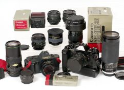 Black Canon AE-1 & T70 Outfit. To include Canon AE-1 Program (untested) with 35-70mm f3.
