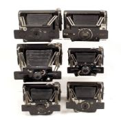 6 Ensign Ensignette Folding Strut Cameras. To include No. 2 and No. 2 De Luxe models.