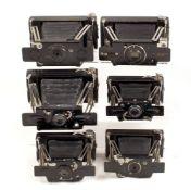 6 Ensign Ensignette Folding Strut Cameras. To include No. 2 and No. 2 De Luxe models.