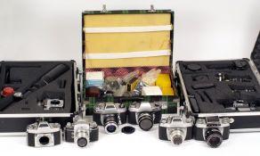 Extensive Exakta RTL1000 Outfit, Plus EXA Cameras & Spares. In three metal cases.