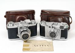 2 Zeiss Ikon Coupled Rangefinder 35mm Cameras. Zeiss Tenax with CZJ 4cm f2.