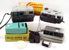 Minolta 16mm Miniature Camera Collection. To include 16mm slide viewer.