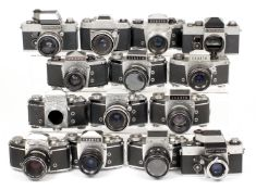 Collection of 14 Exakta Cameras, Most with Lenses. To include Varex, RTL1000, VX500 etc.