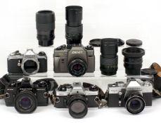 Collection of Praktica Cameras and a ZENIT 122 Commemorative Camera.