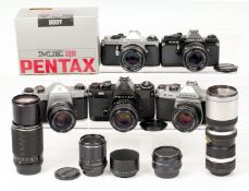 Pentax PK & M42 Camera & Lens Collection. To include chrome ME Super (not firing) with 50mm f1.