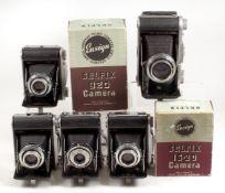 5 Ensign Selfix Roll Film Cameras.