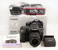 Canon EOS 7D DSLR Kit. Comprising 7D body #3814BO18 (condition 4E) with battery, charger, leads etc.