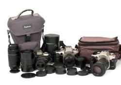 Canon EOS Film Cameras & Lenses, inc 500mm Mirror Lens.