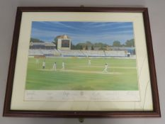 Warwickshire cricket club signed print picturing Warwick v Durham at Edgbaston in 1994 with