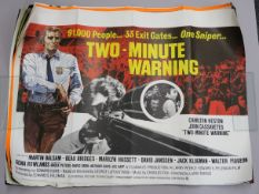 Collection of Quad film posters some rolled and some folded titles include - Two Minute Warning, The