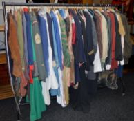 A large collection on one rail of movie costumes obtained directly from the studio lots inc Warner