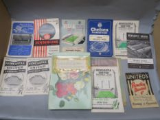 Early Newcastle programmes including Millwall away, Sunderland 1957, Aston Villa 1958, Chelsea 1959,