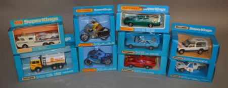 9 Matchbox models from the 'SuperKings' range, all in window box packaging, including K-101 Racing