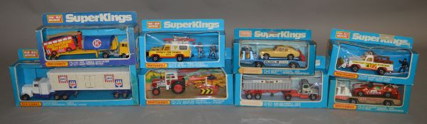 8 Matchbox models from the 'SuperKings' range, all in window box packaging, including K-75 Airport