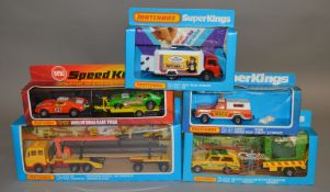 5 Matchbox models from the 'SuperKings' range, all in various styles of window box packaging,