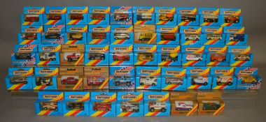 47 Matchbox models from their 1-75 Series 'Superfast' range, mostly in blue window box packaging