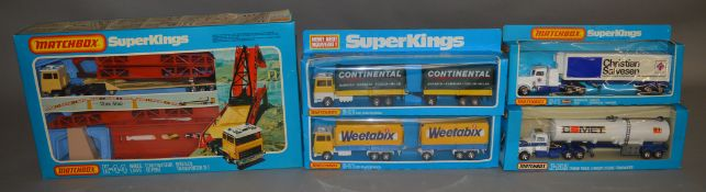 5 Matchbox models from the 'SuperKings' range, all in window box packaging, including K-44 Bridge