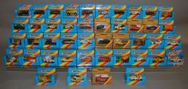 44 Matchbox models from their 1-75 Series 'Superfast' range, mostly in blue window box packaging