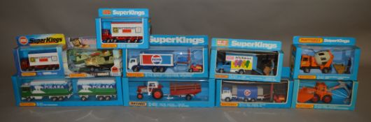 9 Matchbox models from the 'SuperKings' range, all in various styles of window box packaging,