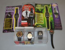 3 Swatch James Bond 007 related Wrist Watches, all cased,  together with 4 carded/boxed 007/Spy