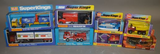 7 Matchbox models from the 'SuperKings' range, all in various styles of window box packaging,
