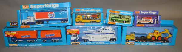 7 Matchbox models from the 'SuperKings' range, all in window box packaging, including K-36