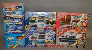 7 Matchbox model Gift Sets from their 'Action Packs' range, all in window box packaging, including