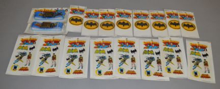 18 Super Friends Batman items, including 2 belts, 8 sticker sheets and 8 sew on patches (18).[NO