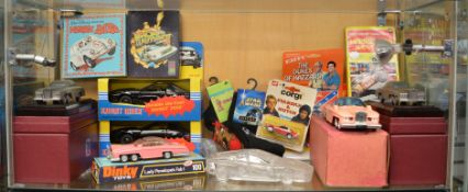 A mixed lot which includes; Lady Penelope's Fab 1 diecast model, Kit from Knight Rider, Fab 1 on