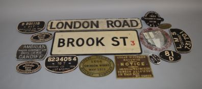 13 Wagon Plates and other Railway related signs including some reproduction items together with